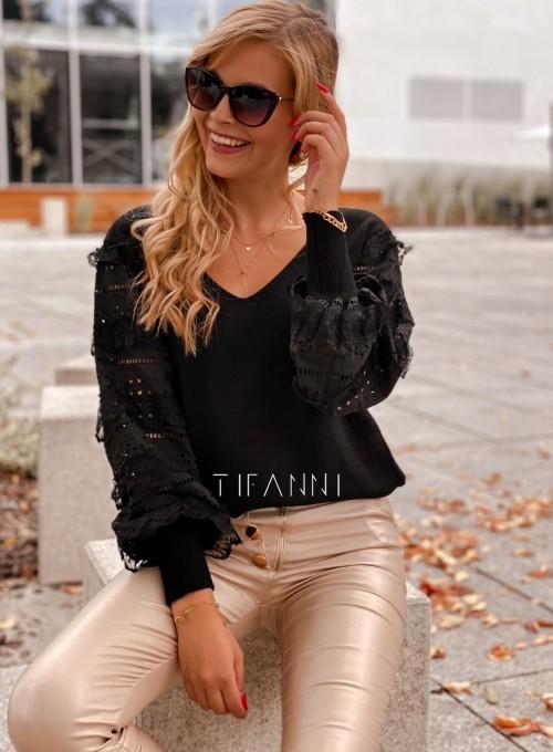 Sweter bluzka z ażurkowymi rękawami Spari czarny