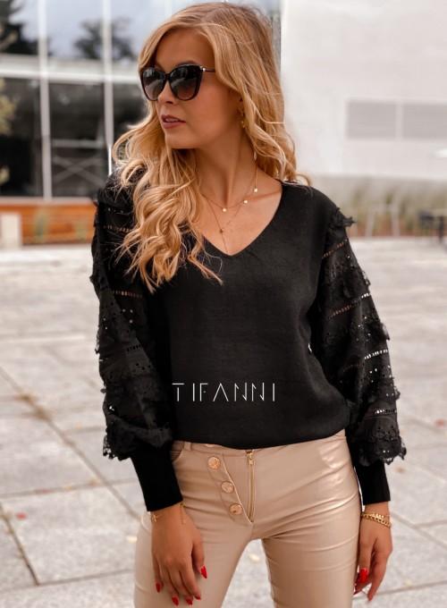 Sweter bluzka z ażurkowymi rękawami Spari czarny 2