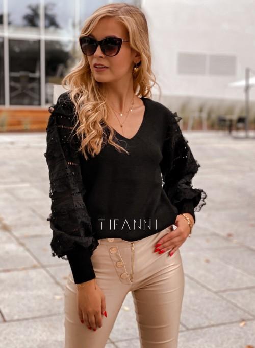 Sweter bluzka z ażurkowymi rękawami Spari czarny 3