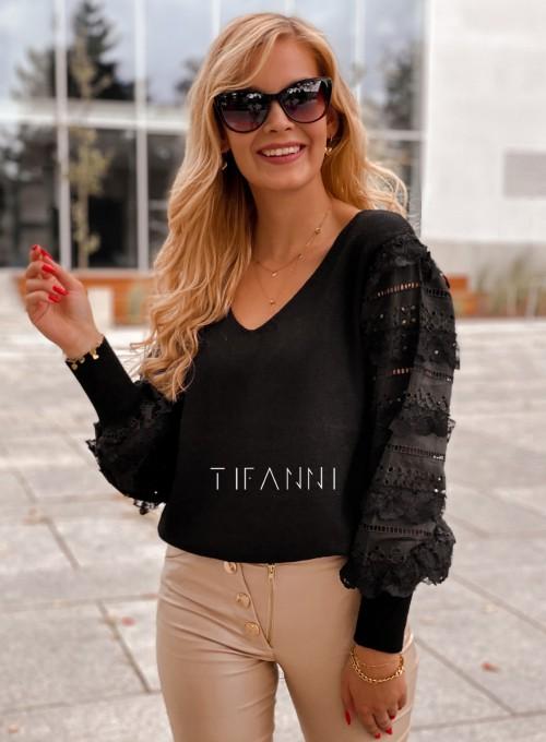 Sweter bluzka z ażurkowymi rękawami Spari czarny 4