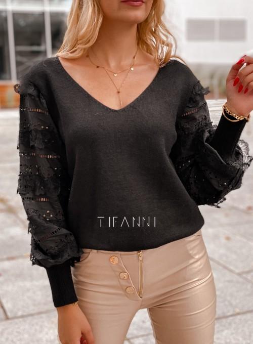Sweter bluzka z ażurkowymi rękawami Spari czarny 1