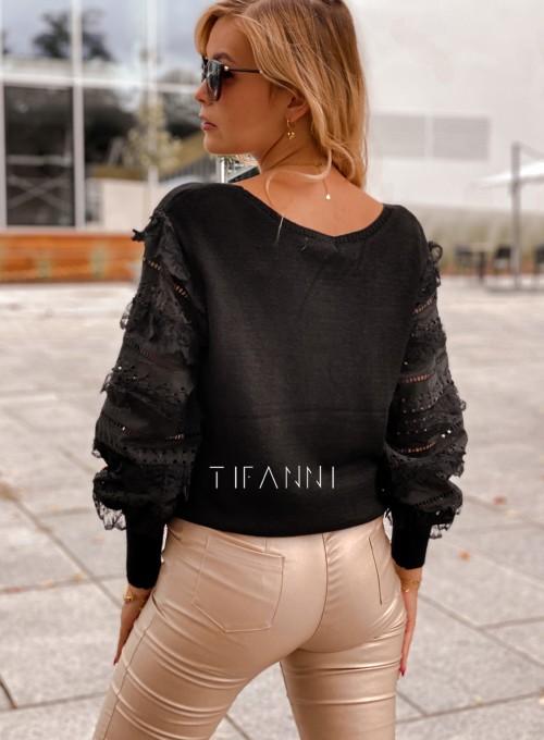 Sweter bluzka z ażurkowymi rękawami Spari czarny 5