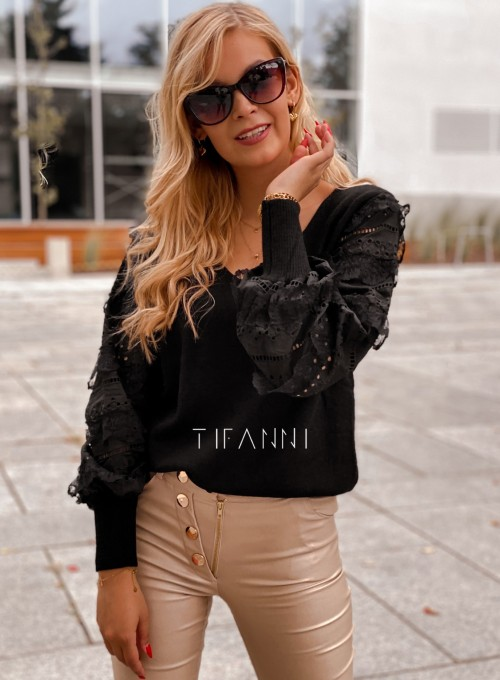 Sweter bluzka z ażurkowymi rękawami Spari czarny 6