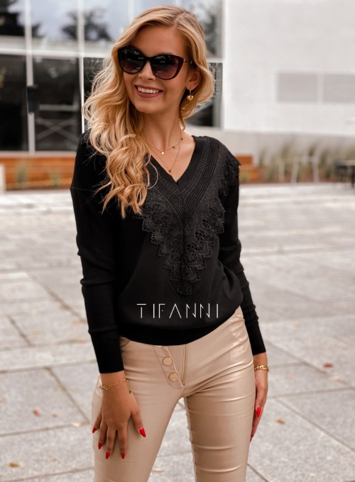 Sweter Roxi z dekoltem w V czarny