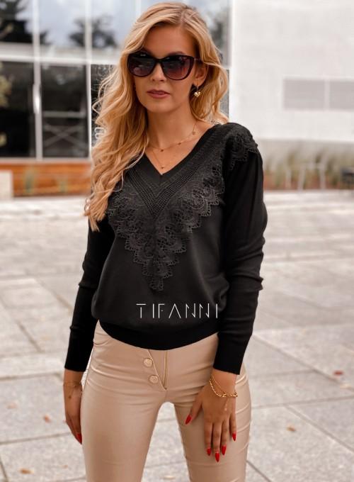 Sweter Roxi z dekoltem w V czarny 3