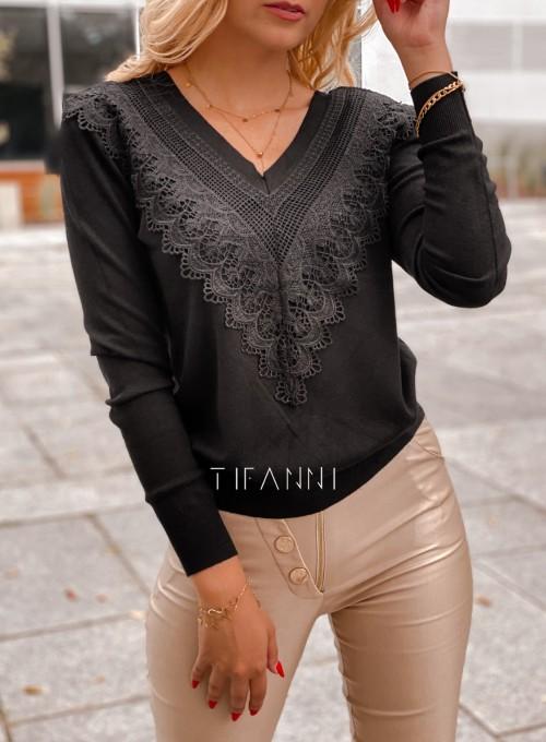 Sweter Roxi z dekoltem w V czarny 1