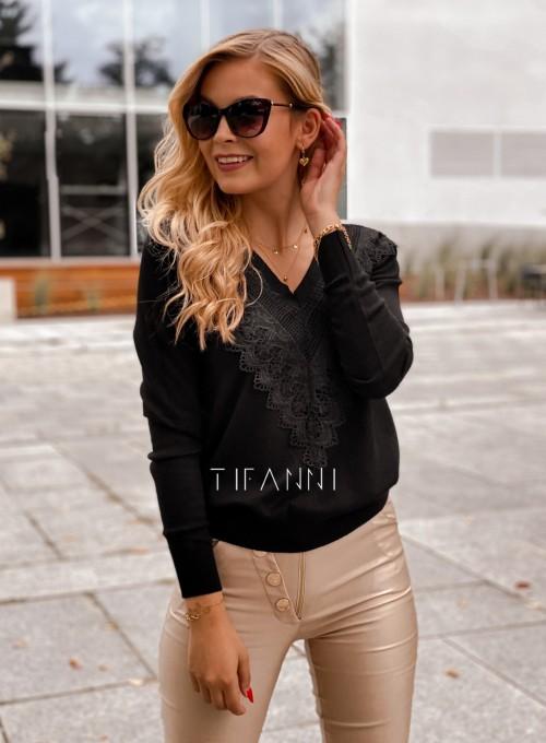 Sweter Roxi z dekoltem w V czarny 4