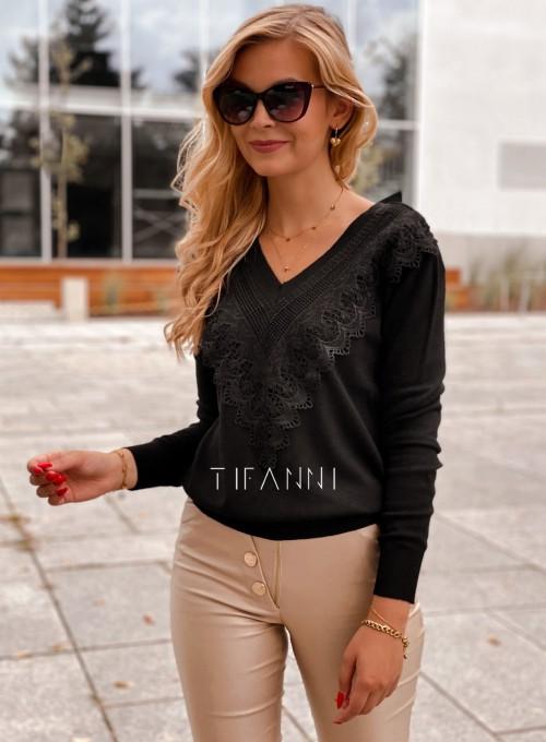 Sweter Roxi z dekoltem w V czarny 5