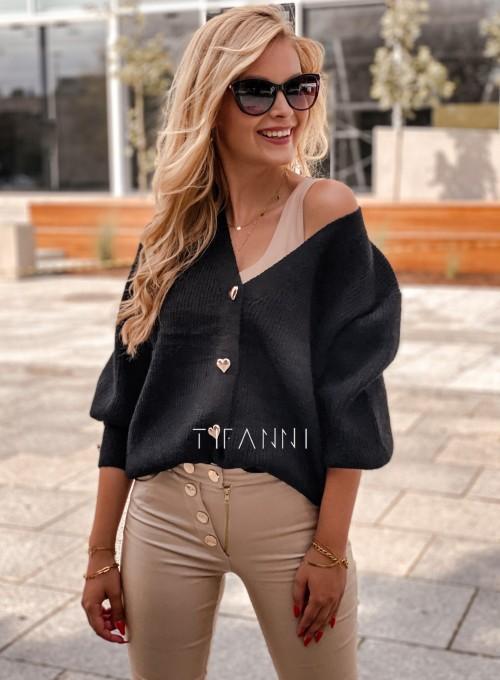 Rozpinany sweter Loret czarny