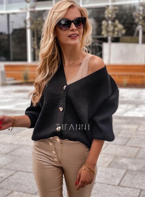 Rozpinany sweter Loret czarny 5