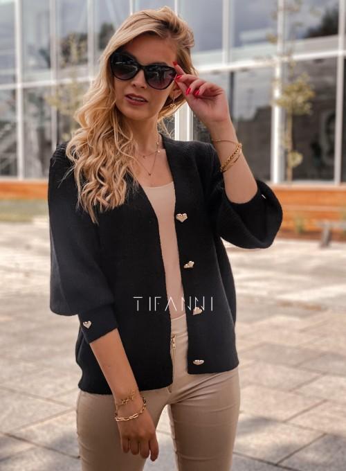 Rozpinany sweter Loret czarny 6