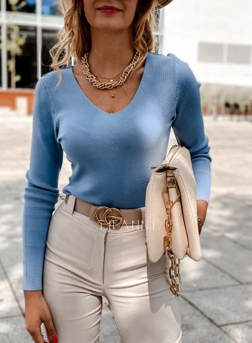 Bluzka Melis z ażurowym wzorem na plecach blue 3