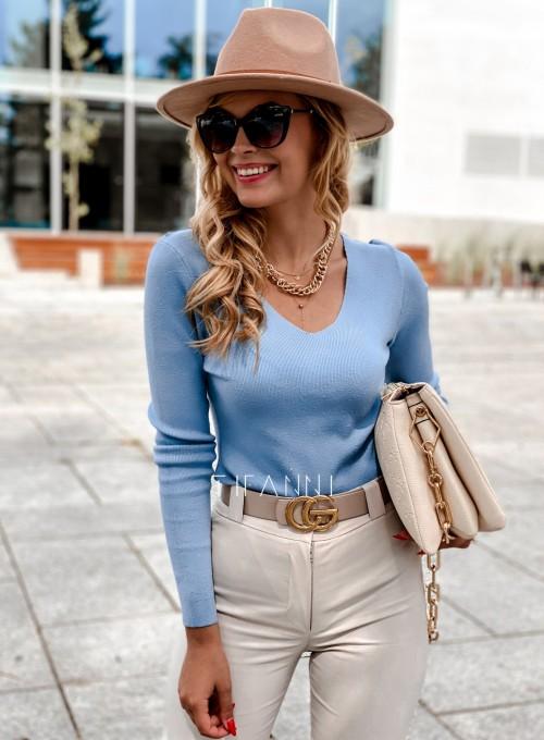 Bluzka Melis z ażurowym wzorem na plecach blue 4