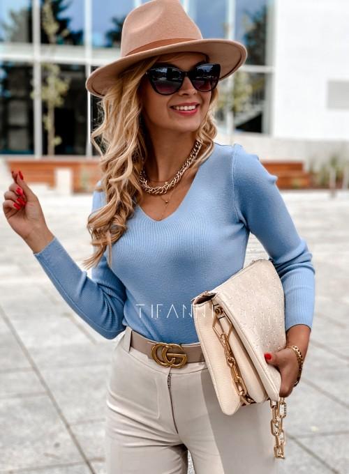 Bluzka Melis z ażurowym wzorem na plecach blue 1
