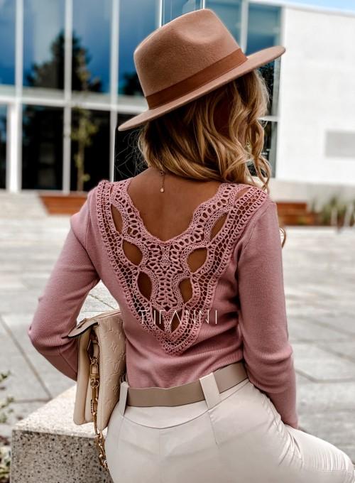 Bluzka Melis z ażurowym wzorem na plecach pudrowa 5