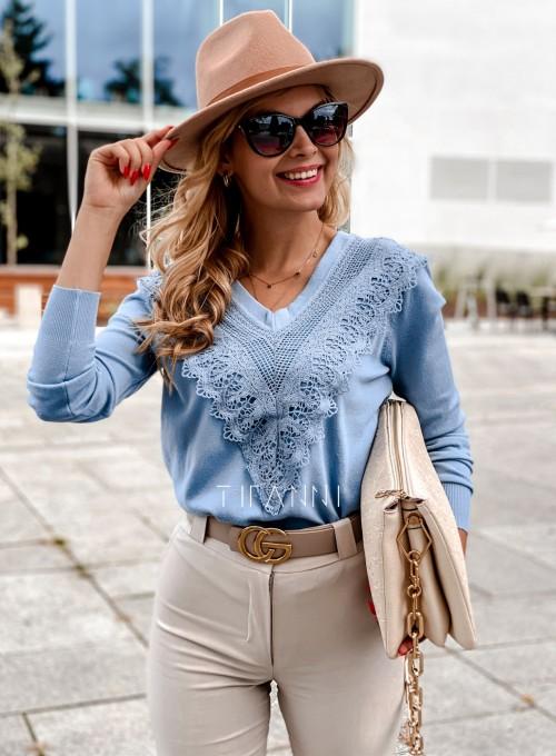 Sweter Roxi z dekoltem w V blue
