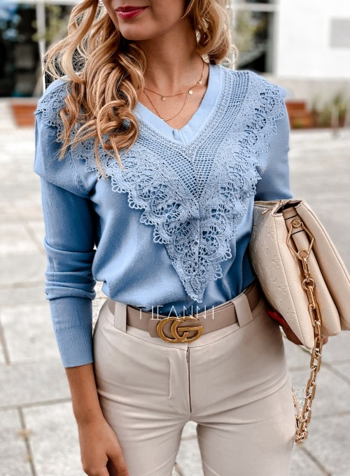 Sweter Roxi z dekoltem w V blue 1
