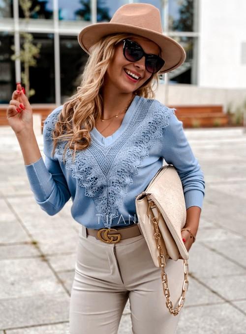 Sweter Roxi z dekoltem w V blue 4