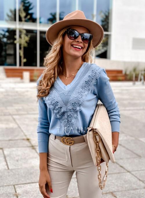 Sweter Roxi z dekoltem w V blue 5