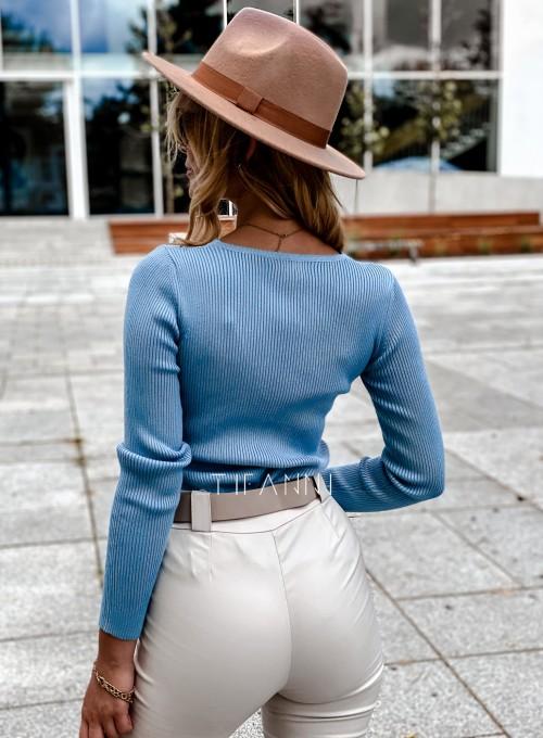 Bluzka z koronkowym dekoltem Tiara blue 3