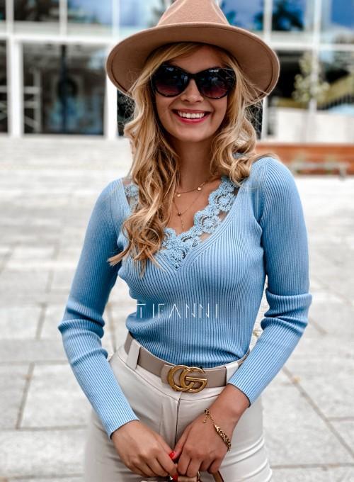 Bluzka z koronkowym dekoltem Tiara blue 4