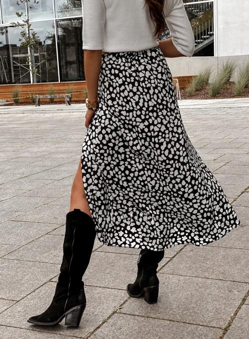 Spódnica midi Draco czarna w białe cętki 5