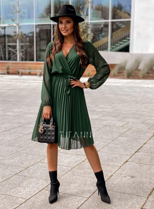 Zwiewna plisowana sukienka Karen butelkowa