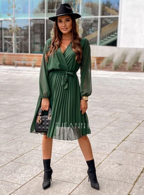 Zwiewna plisowana sukienka Karen butelkowa 2