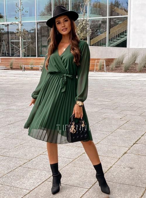 Zwiewna plisowana sukienka Karen butelkowa 4