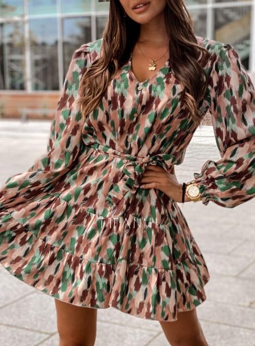 Sukienka Xami z guziczkami na dekolcie 1