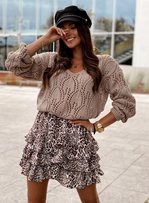 Sweter ażurowy Savi beżowy 2