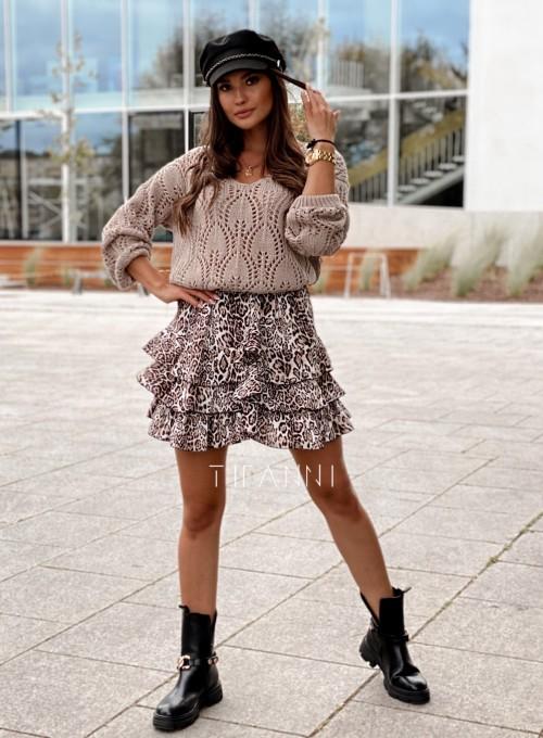Sweter ażurowy Savi beżowy 3
