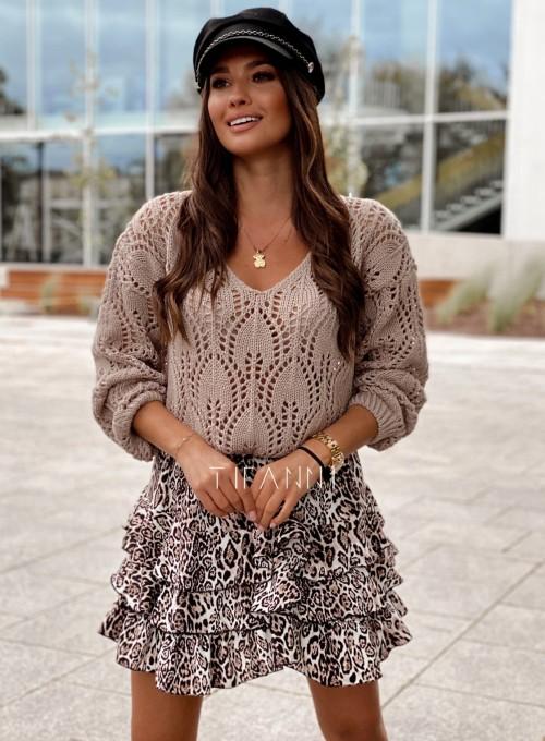 Sweter ażurowy Savi beżowy 5