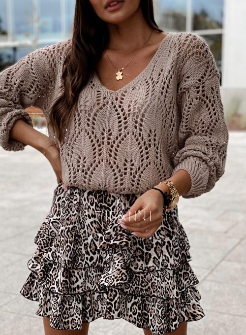 Sweter ażurowy Savi beżowy 1