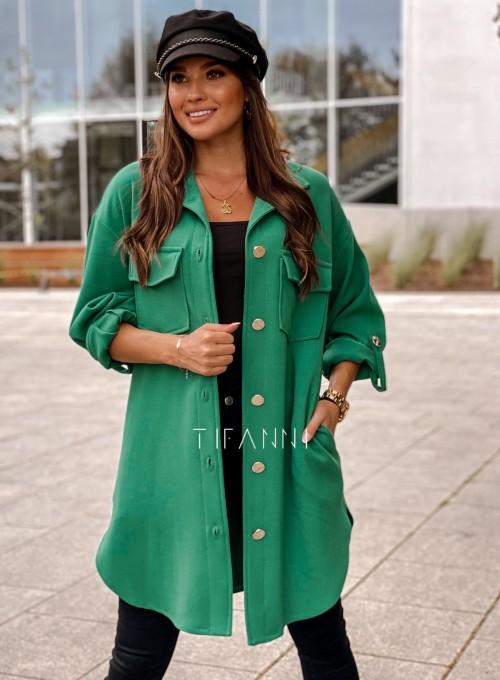 Płaszcz koszulowy Viki zielony 4