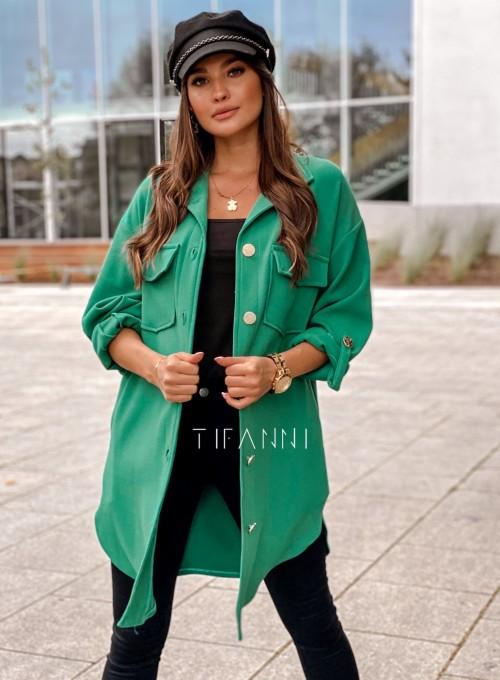 Płaszcz koszulowy Viki zielony 5