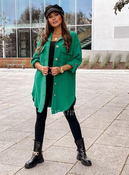 Płaszcz koszulowy Viki zielony 2