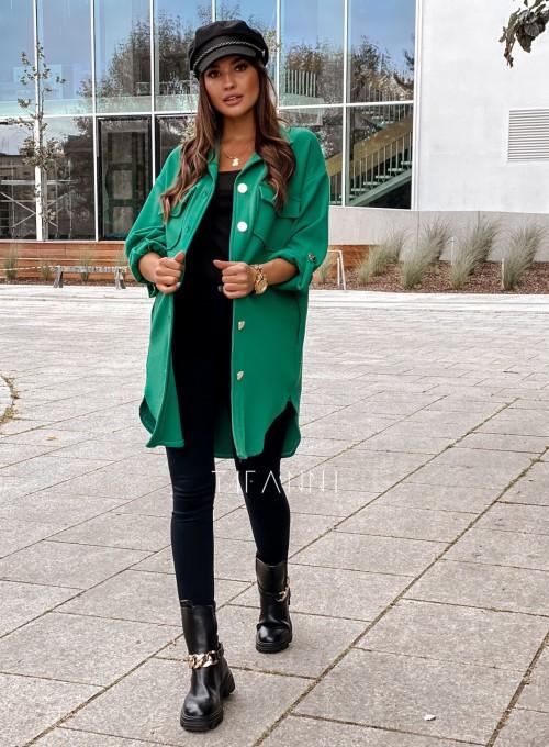 Płaszcz koszulowy Viki zielony 6