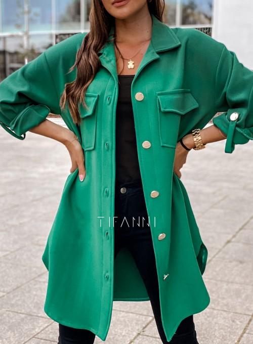 Płaszcz koszulowy Viki zielony 1