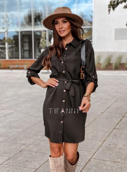 Koszulowa sukienka Paris czarna