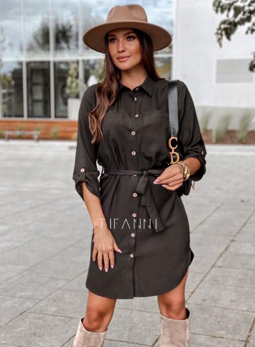 Koszulowa sukienka Paris czarna 3
