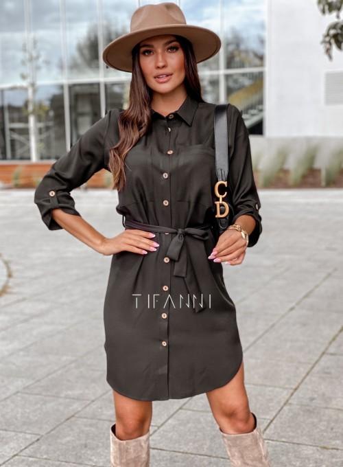 Koszulowa sukienka Paris czarna 5