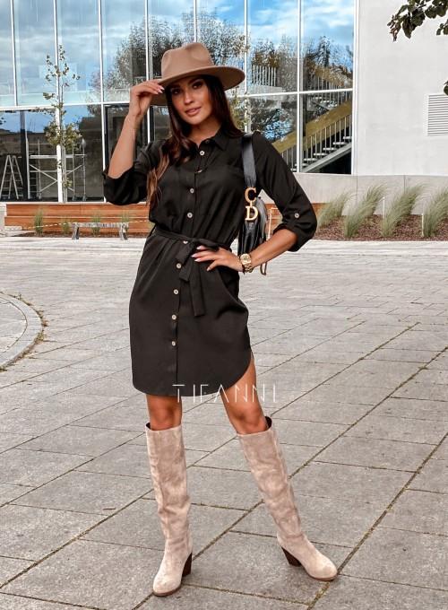 Koszulowa sukienka Paris czarna 7