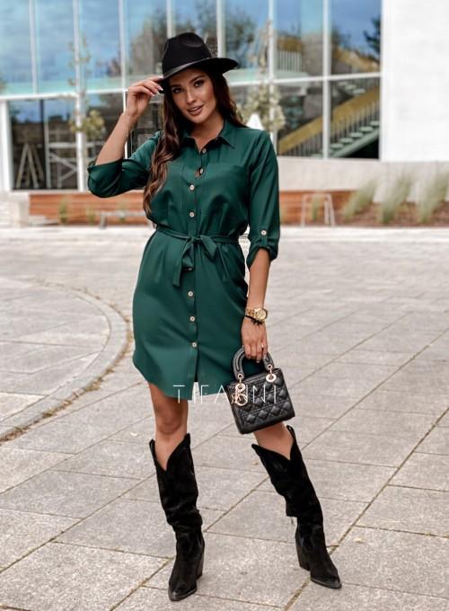 Koszulowa sukienka Paris butelkowa 4