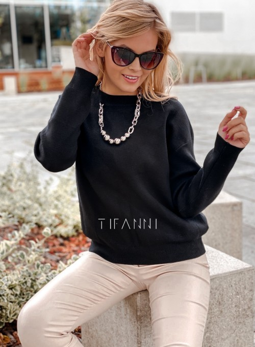 Bluzka sweter z łańcuszkiem Marco czarny 1