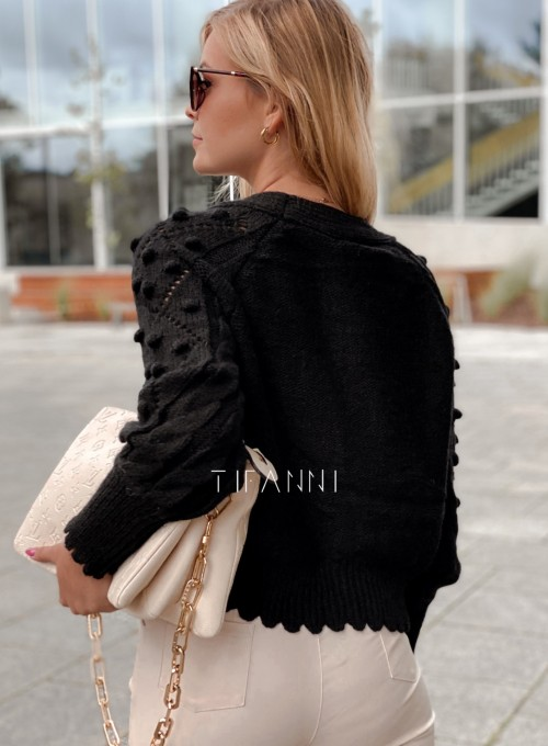 Sweter rozpinany z ozdobnymi guziczkami Carlen czarny 2