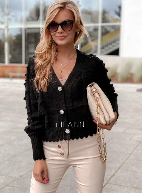 Sweter rozpinany z ozdobnymi guziczkami Carlen czarny 4