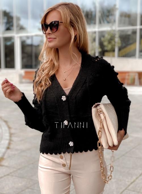 Sweter rozpinany z ozdobnymi guziczkami Carlen czarny 5