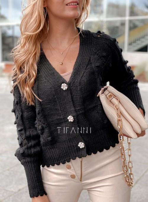 Sweter rozpinany z ozdobnymi guziczkami Carlen czarny 1