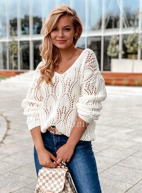 Sweter ażurowy Savi śmietankowy 2